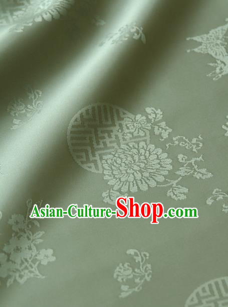 Asian Traditional Palace Drapery Korean Hanbok Royal Butterfly Pattern Pea Green Brocade Satin Fabric