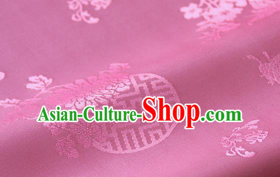 Asian Traditional Palace Drapery Korean Hanbok Royal Butterfly Pattern Rosy Brocade Satin Fabric