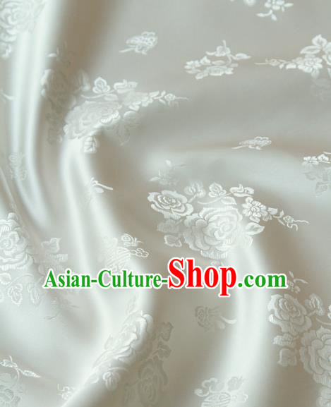 Asian Korean Classical White Brocade Traditional Palace Peony Pattern Satin Fabric Silk Fabric Material
