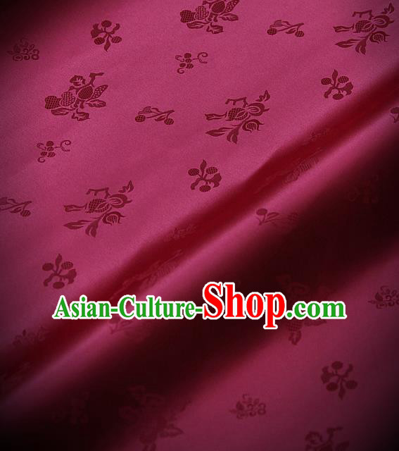 Traditional Asian Wine Red Satin Classical Pattern Drapery Korean Hanbok Palace Brocade Silk Fabric