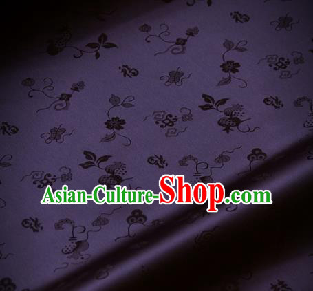 Traditional Asian Deep Purple Brocade Classical Cucurbit Pattern Drapery Korean Hanbok Palace Satin Silk Fabric