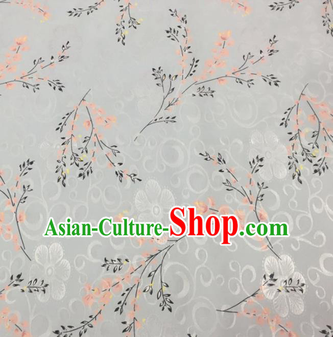 Chinese Traditional Apparel Fabric White Brocade Classical Pattern Design Silk Material Satin Drapery