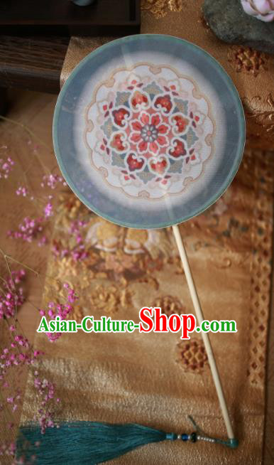 Chinese Ancient Handmade Blue Palace Fans Traditional Hanfu Round Fans for Women
