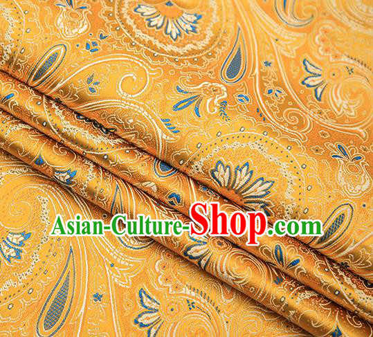 Chinese Traditional Tang Suit Golden Brocade Fabric Classical Pattern Design Material Satin Drapery