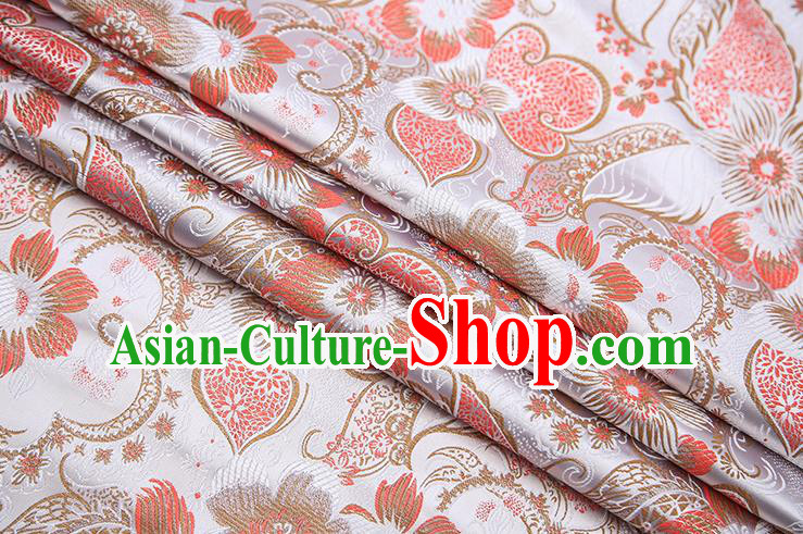 Traditional Chinese Tang Suit White Brocade Fabric Classical Pattern Design Material Satin Drapery