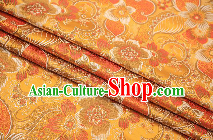 Traditional Chinese Tang Suit Golden Brocade Fabric Classical Pattern Design Material Satin Drapery