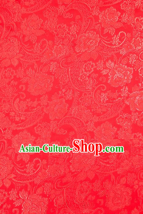 Chinese Traditional Satin Classical Loquat Flower Pattern Design Red Brocade Fabric Tang Suit Material Drapery