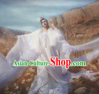 Ancient Chinese Cosplay Goddess White Hanfu Dress Traditional Princess Embroidered Costumes and Headpiece Complete Set