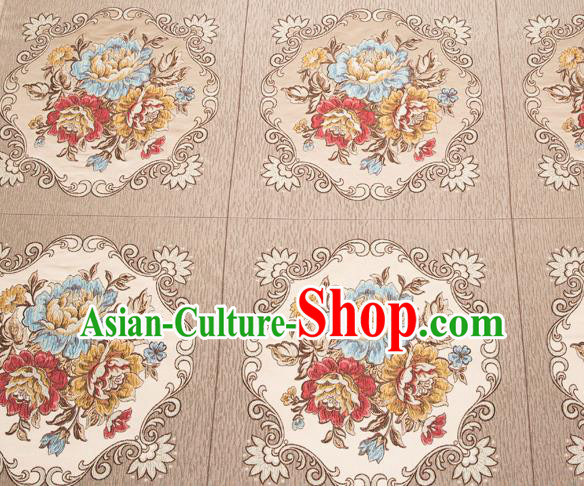 Top Grade Classical Flowers Pattern Brocade Chinese Traditional Garment Fabric Cushion Satin Material Drapery
