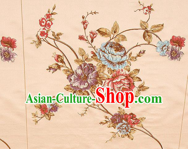 Top Grade Classical Embroidery Flowers Pattern Khaki Brocade Chinese Traditional Garment Fabric Cushion Satin Material Drapery