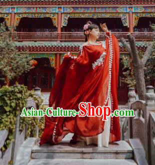 Chinese Ancient Cosplay Peri Costumes Traditional Princess Embroidered Red Hanfu Dress for Women
