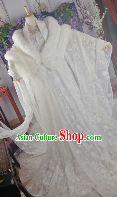 Chinese Ancient Cosplay Peri White Costumes Traditional Princess Embroidered Hanfu Dress for Women