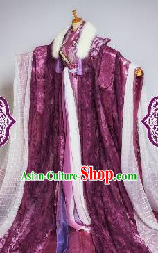 Chinese Ancient Cosplay Swordsman Purple Costumes Traditional Royal Highness Clothing for Men
