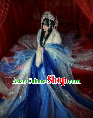 Chinese Ancient Imperial Consort Blue Costumes Traditional Cosplay Peri Embroidered Hanfu Dress for Women