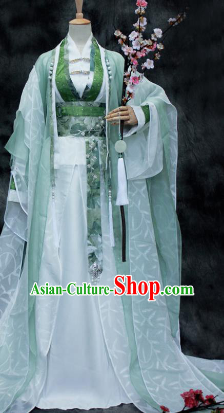 Chinese Ancient Cosplay Swordsman Green Costumes Traditional Handsome Childe Hanfu Clothing for Men