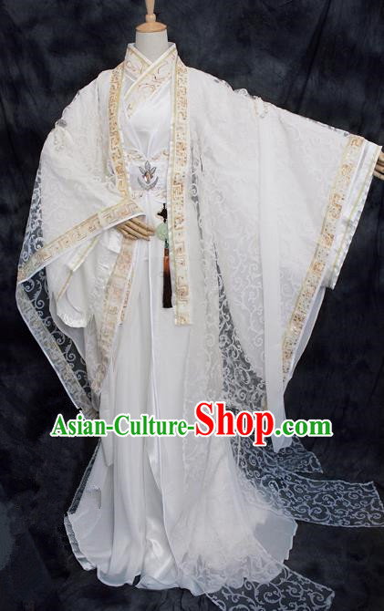 Chinese Ancient Cosplay Swordsman Costumes Traditional Prince White Hanfu Clothing for Men