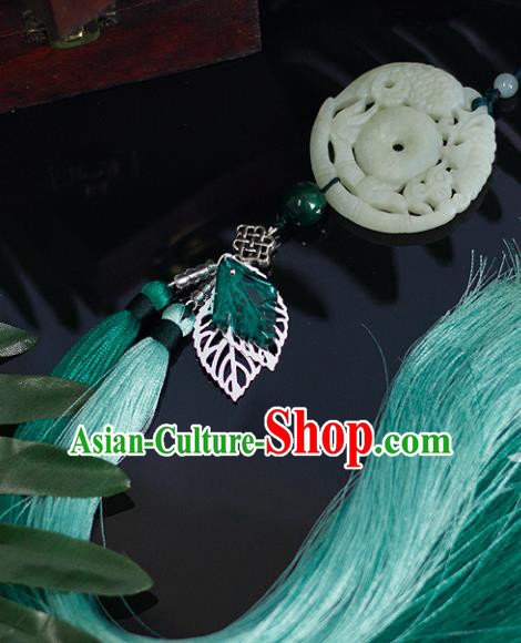 Chinese Traditional Handmade Waist Accessories Palace Carving Fish Jade Pendant for Men