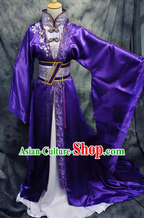 Asian Chinese Ancient Prince Swordsman Purple Costumes Traditional Cosplay Nobility Childe Hanfu Clothing for Men