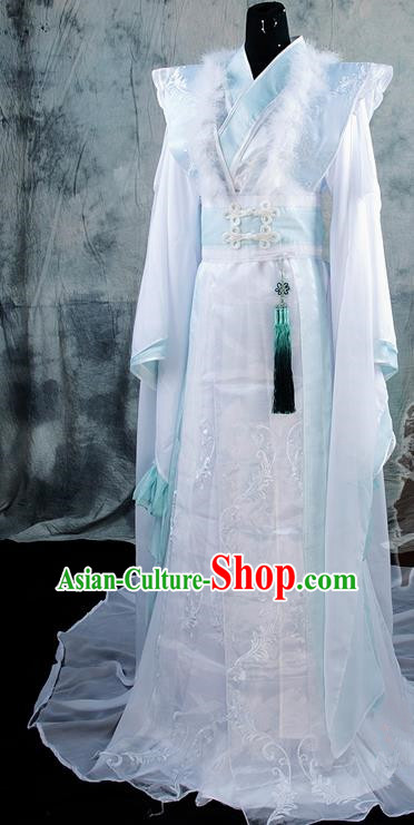 Asian Chinese Ancient Prince Swordsman White Costumes Traditional Cosplay Nobility Childe Hanfu Clothing for Men