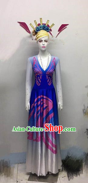 Chinese Ethnic Costumes Traditional Folk Dance Dress for Women