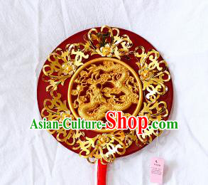 Chinese Traditional Wedding Carving Dragon Round Fans Ancient Bride Handmade Red Palace Fans for Women