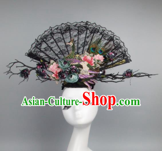Top Grade Handmade Chinese Black Lace Peacock Palace Hair Clasp Traditional Hair Accessories Headdress for Women