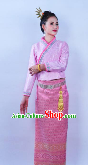 Asian Chinese Ethnic Costumes Traditional Dai Nationality Folk Dance Pink Blouse and Skirt for Women