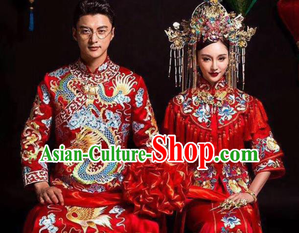 Asian Chinese Ancient Wedding Costumes Traditional Bride and Bridegroom Red Clothing for Women for Men