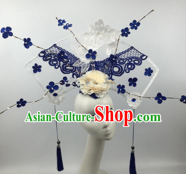 Chinese Traditional Exaggerated Palace Headdress Catwalks Blue Lace Flowers Hair Accessories for Women