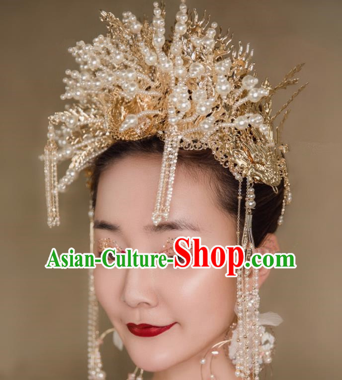 Chinese Traditional Bride Headdress Palace Exaggerated Phoenix Coronet Hair Accessories for Women