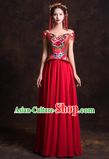 Chinese Traditional Embroidered Red Dress Ancient Wedding Dress for Women