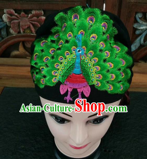 Chinese Traditional National Hat Ethnic Yi Nationality Embroidered Green Peacock Kerchief for Women