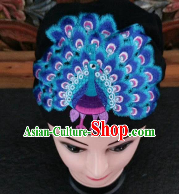 Chinese Traditional National Hat Ethnic Yi Nationality Embroidered Blue Peacock Kerchief for Women