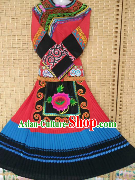 Chinese Traditional National Ethnic Costumes Yi Nationality Embroidered Dress for Women