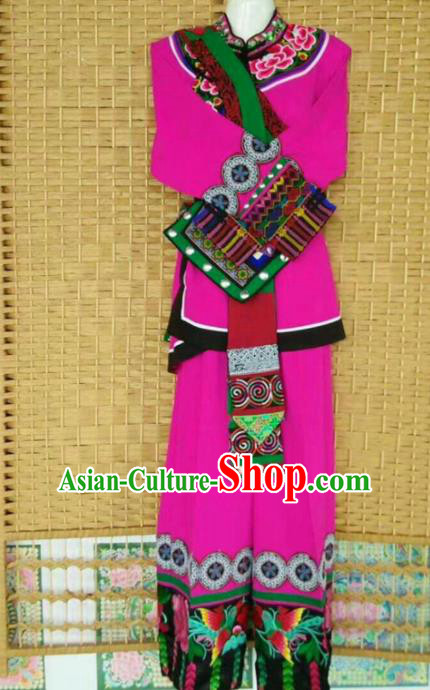 Chinese Traditional National Ethnic Costumes Yi Nationality Embroidered Rosy Clothing for Women