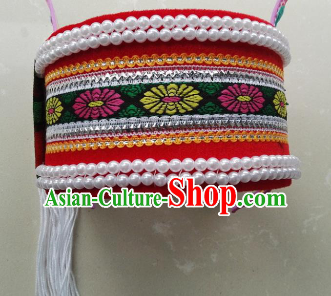 Chinese Traditional National Hat Ethnic Yi Nationality Bride Embroidered Hat for Women