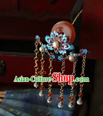 Asian Chinese Traditional Hair Accessories Ancient Hanfu Blueing Chrysanthemum Hairpins Hair Clip for Women