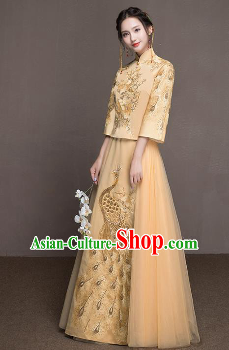 Chinese Traditional Wedding Costumes Ancient Bride Embroidered Peacock Yellow Dress for Women