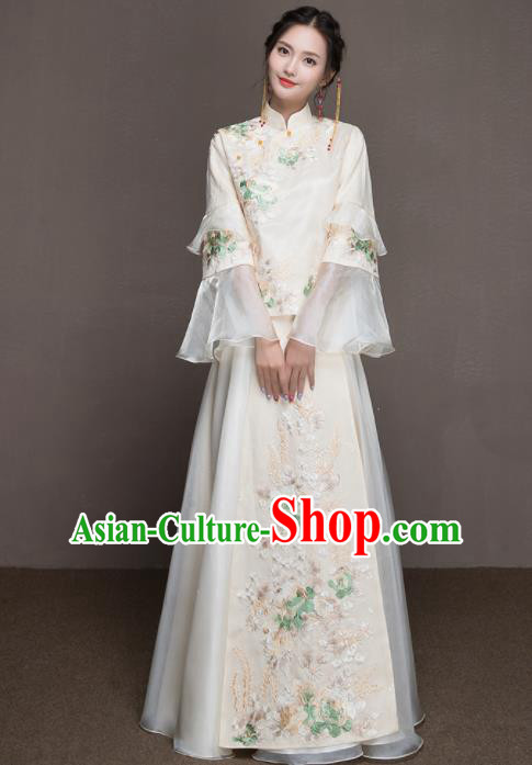 Chinese Traditional Wedding Costumes Ancient Bride Embroidered White Dress for Women