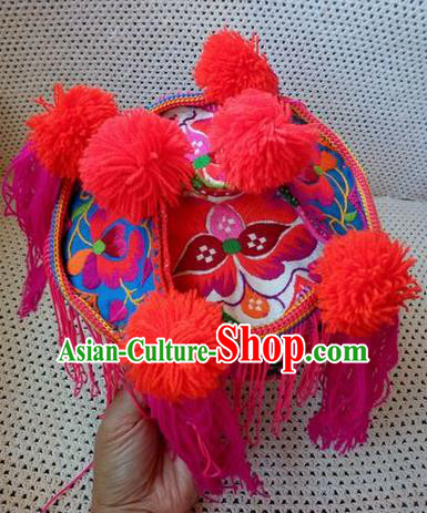 Chinese Traditional National Accessories Ethnic Embroidered Rosy Hat for Kids