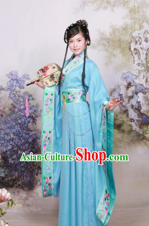 Chinese Ancient Peri Goddess Embroidered Costumes Tang Dynasty Palace Princess Blue Hanfu Dress for Women