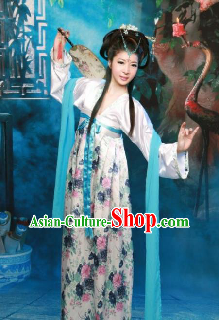 Chinese Ancient Peri Princess Costumes Tang Dynasty Palace Lady Hanfu Dress for Women