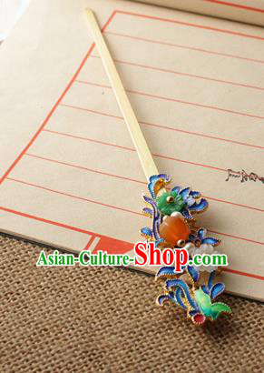 Asian Chinese Traditional Hair Accessories Ancient Palace Blueing Hairpins for Women