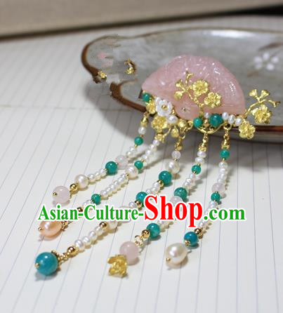 Asian Chinese Traditional Hanfu Pearls Tassel Hair Clip Ancient Palace Pink Chalcedony Hairpins for Women