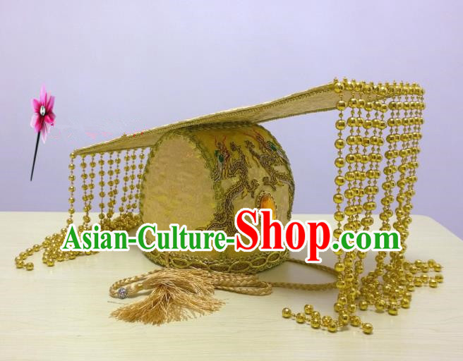 Chinese Traditional Hanfu Headdress Ancient Han Dynasty Emperor Golden Tassel Hat for Men