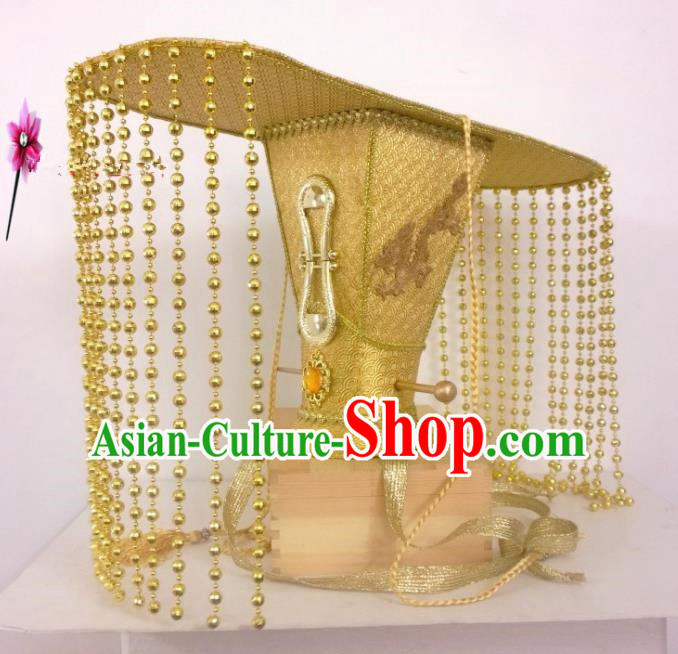 Chinese Traditional Hanfu Headdress Ancient Qin Dynasty Emperor Tuinga Golden Hat for Men
