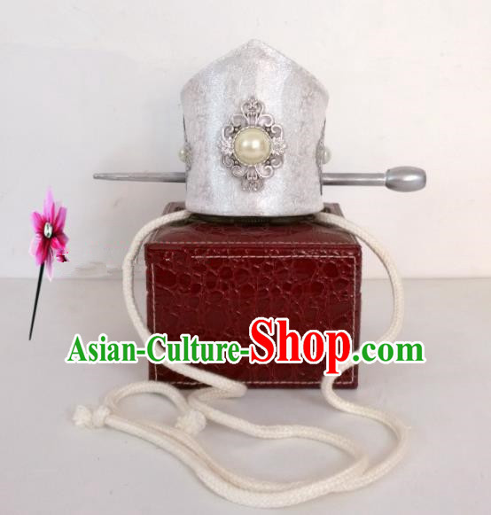 Chinese Traditional Hanfu Headdress Ancient Tang Dynasty Prince White Hairdo Crown for Men