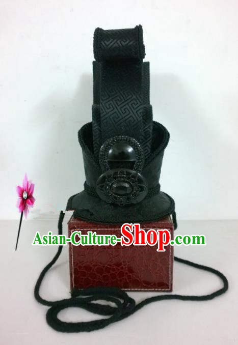 Chinese Traditional Hanfu Headdress Ancient Warring States Period Prince Black Hairdo Crown for Men