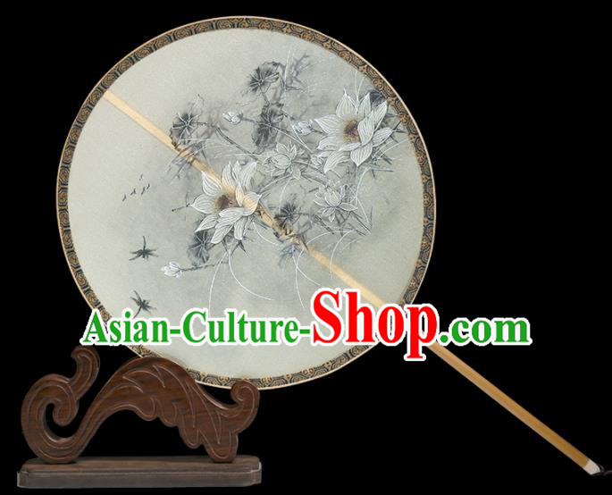 Traditional Chinese Crafts Palace Fans Printing White Lotus Round Fans Ancient Silk Fan for Women