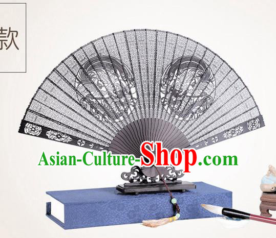 Chinese Traditional Crafts Sandalwood Folding Fans Pierced Dragon Phoenix Fans Accordion Fan